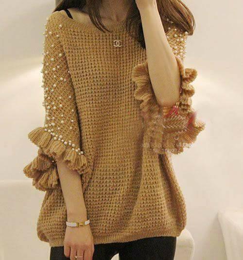 wzor bluzki w stylu ponczo na drutach