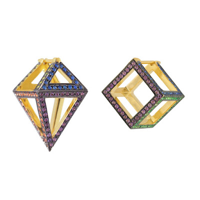 These asymmetric earrings are inspired by Holi, the Indian festival colour. The gemstones are multi-coloured sapphires and with a black rhodium finish under the stones to give it a further pop of colour.