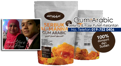 stokis gum arabic, almanna, gum arabic, gum arabic food, gum arabic selising, gum arabic pasir puteh, gum arabic kelantan, acacia senegal, prebiotik, sudan, getah arab,