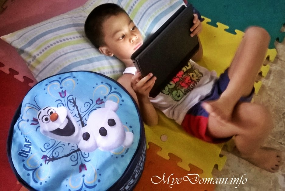 Kiko with Olaf sitting cushion - advance birthday gift from Ate Aya