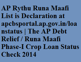 AP Rythu Runa Maafi List is Declaration at apcbsportal.ap.gov.in/loanstatus | The AP Debt Relief / Runa Maafi Phase-I Crop Loan Status Check 2014