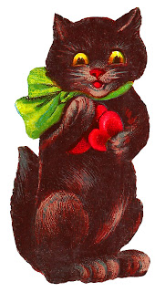 vintage black cat valentine image digital download