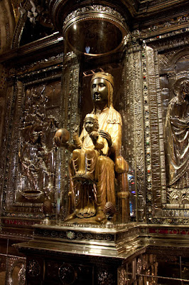 The statue of the Black Madonna in Montserrat, Catalonia, Spain
