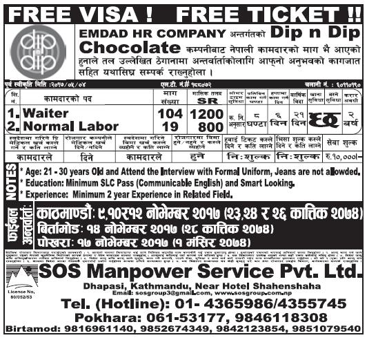 Free Visa Free Ticket Jobs in Saudi Arabia for Nepali, Salary Rs 33,216