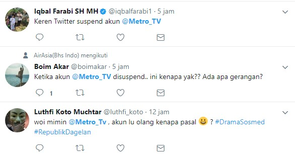akun Metro TV disuspend