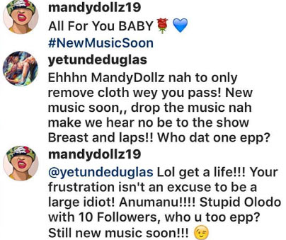Newbie singer Mandy Dollz drags follower over this photo