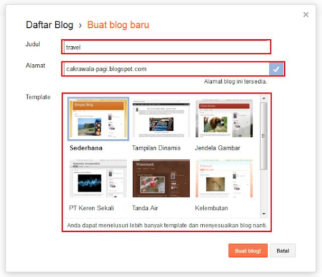 Memberikan nama identitas blog