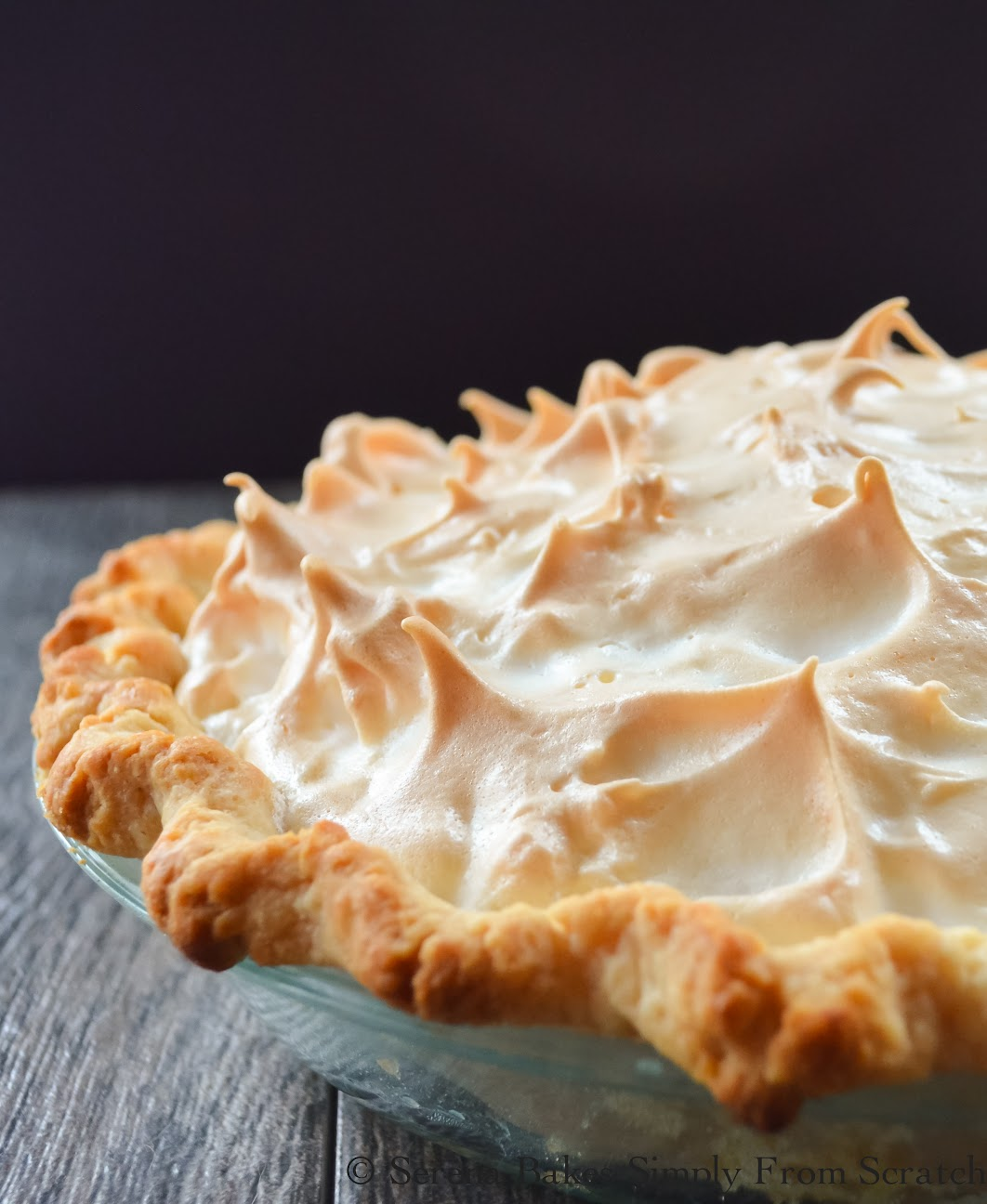 A weep free Lemon Meringue Pie with easy to follow step by step instructions by Serena Bakes Simply From Scratch.