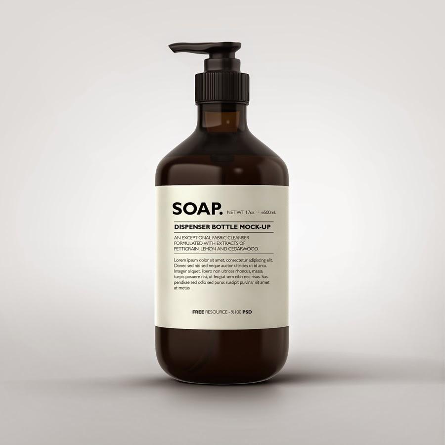 Photorealistic Soap Bottle Mockup PSD