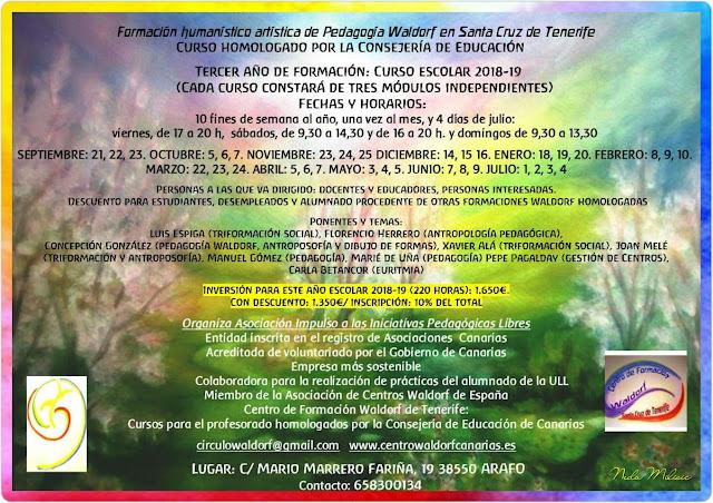 Curso de Formación Waldorf Tenerife Canarias 2018-2019 Arafo