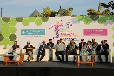 Hustle! Hit! Never Quit! National Westzone Football Tournament (M) 2017 at Jagran Lakecity University
