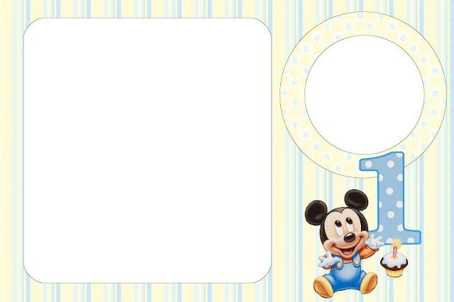 Mickey Baby Kit Completo Com Molduras Para Convites Rótulos Para