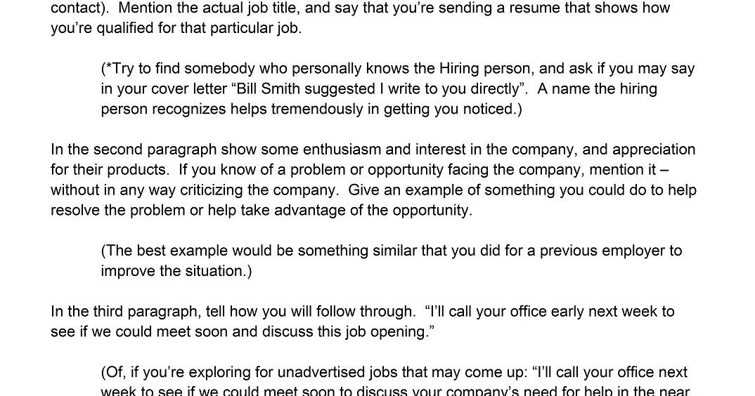 Best way to write a cover letter for resume