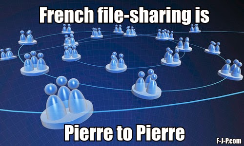 Funny French Joke Puns Picture - French file-sharing is Pierre to Pierre