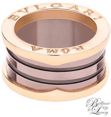 Bvlgari B.zero1 Roma 4-band 18 k rose gold ring with bronze ceramic #jewelry #brilliantluxury