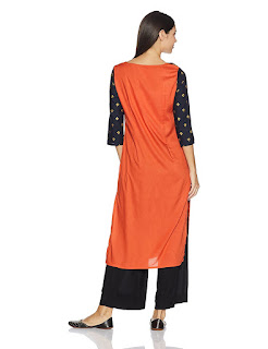 W kurta with golden print and, black and orange front and orange back.