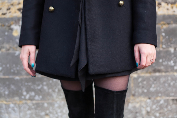 Outfit: military coat, thigh high boots