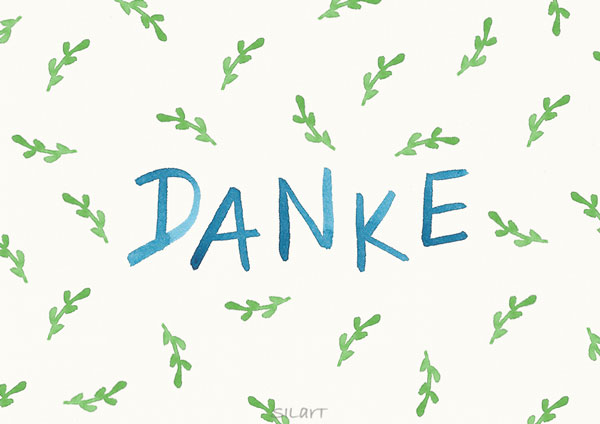 Danke Karte, Thank you card, Watercolor, Wasserfarben
