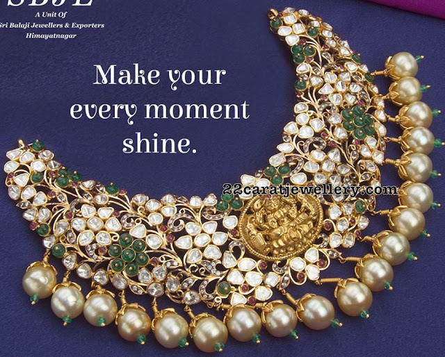 Pachi Necklace with Lakshmi by Sri Balaji Jewellers