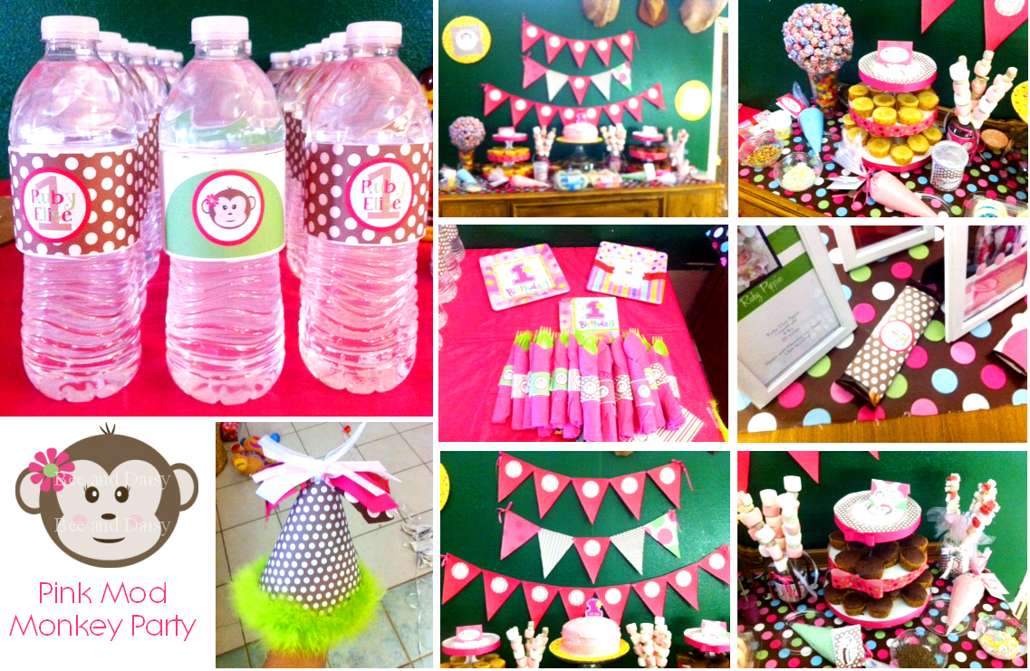 Bee And Daisy Real Party Sweet Pink Mod Monkey 1st Birthday