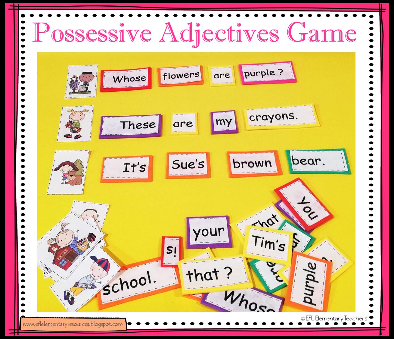 Efl Elementary Teachers Possessive Pronouns Nouns