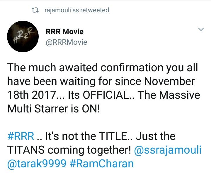 Rajamouli next movie tweet