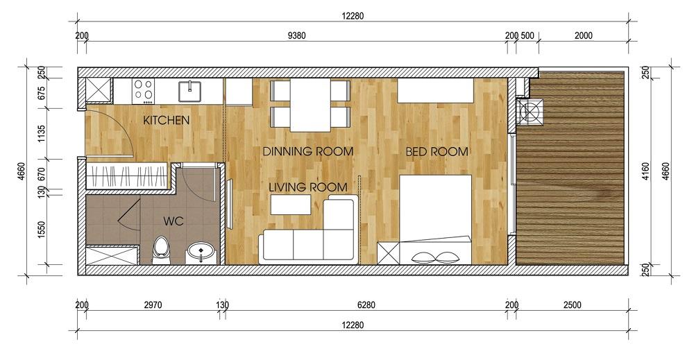 Mặt bằng căn A1-1 Chung Cư The Two Residence 51 m2