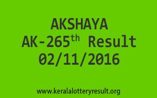 AKSHAYA AK 265 Lottery Results 2-11-2016