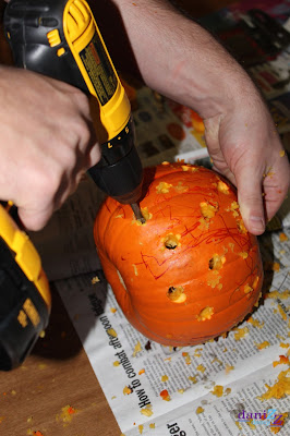 Pumpkin Carving with a Drill, unique pumpkin carving, Pumpkin Carving, Cool Pumpkin decor, Cool pumpkin designs, Drill Pumpkins, Easy Pumpkin Carving, Fast Pumpkin Carving, Drill Crafts, Drill Designs, Drill Pumpkins, how to carve pumpkin with drill, DIY, Halloween, Pumpkins