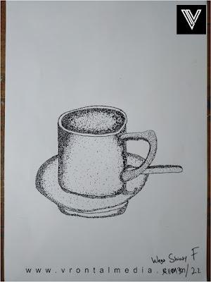 contoh gambar pointilis cangkir