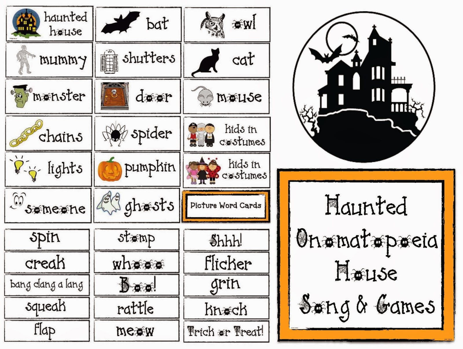 Classroom Freebies Haunted Onomatopoeia House Song And