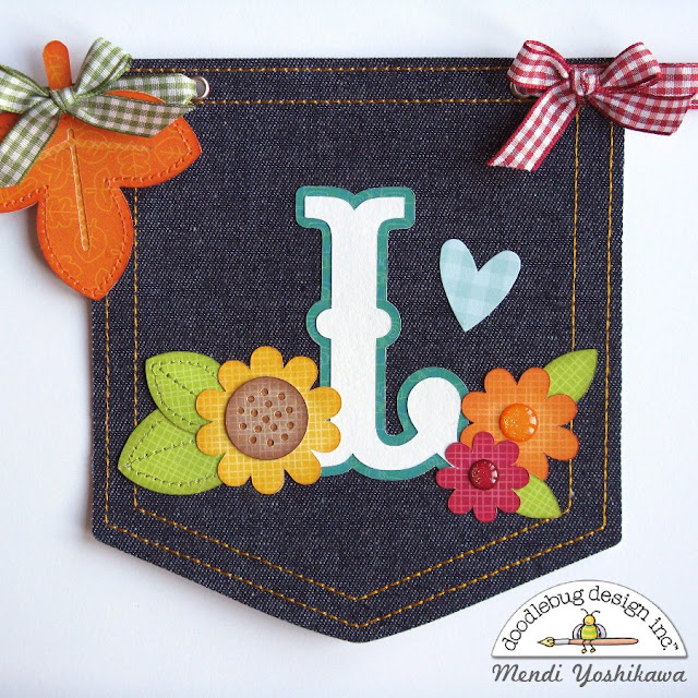 Doodlebug Design Flea Market Thankful Denim Fall Banner by Mendi Yoshikawa