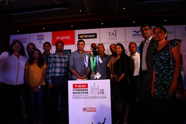Hyderabad Runners Society and Bharti Airtel together with the Govt. of Telangana unveiled the specially designed Finisher's Medals and Corporate Trophy for the 6th Edition of the Airtel Hyderabad Marathon.