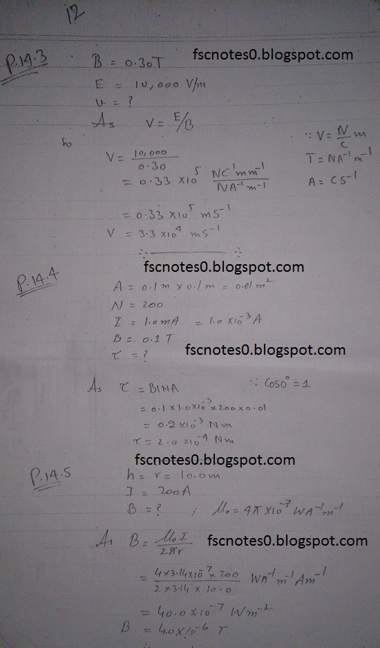 F.Sc ICS Notes: Physics XII: Chapter 14 Electromagnetism Numerical Problems Asad Hussain 1