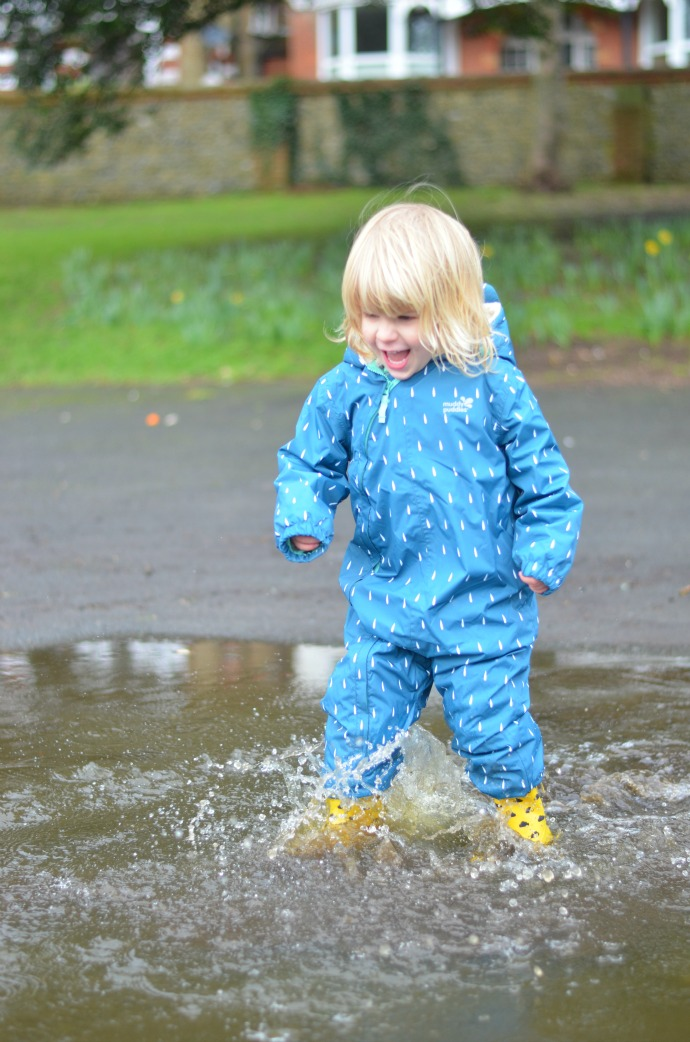toddler, puddle splashing, muddy puddles waterproofs, waterproof all in one