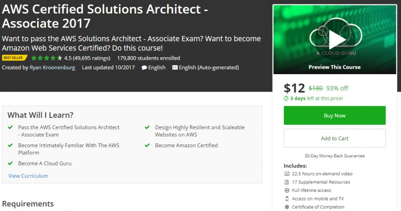 95% Off] AWS Certified Solutions Architect - Associate 2017