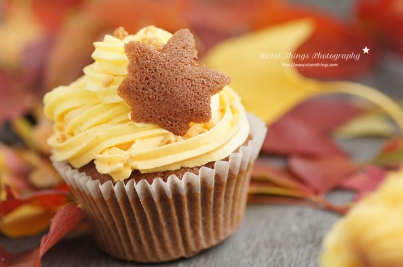 Herbst Cupcake mit Tuile Keks in Blattform