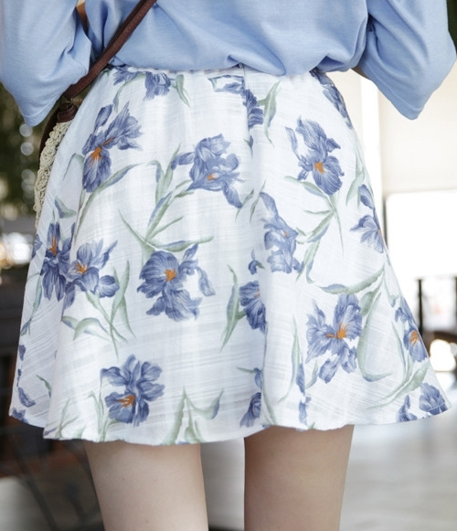 Flared Floral Mini Skirt