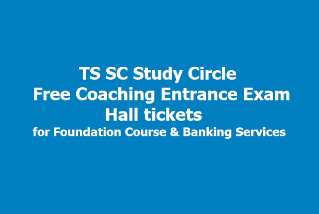 TS SC Study Circle Free Coaching Entrance Exam Hall tickets