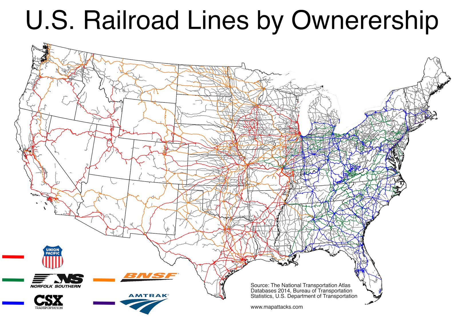 Maps Who Owns America S Railroads