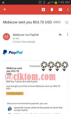 Bayaran kedua dari mobicow