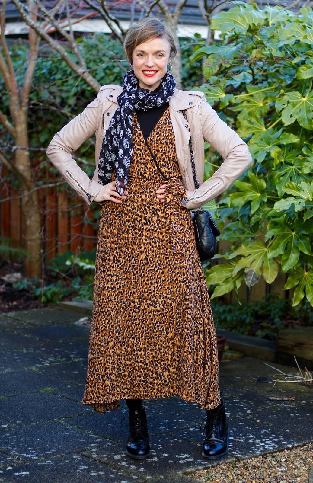 Leopard Zara midi dress | Nude Superdry Jacket | Winter outfit