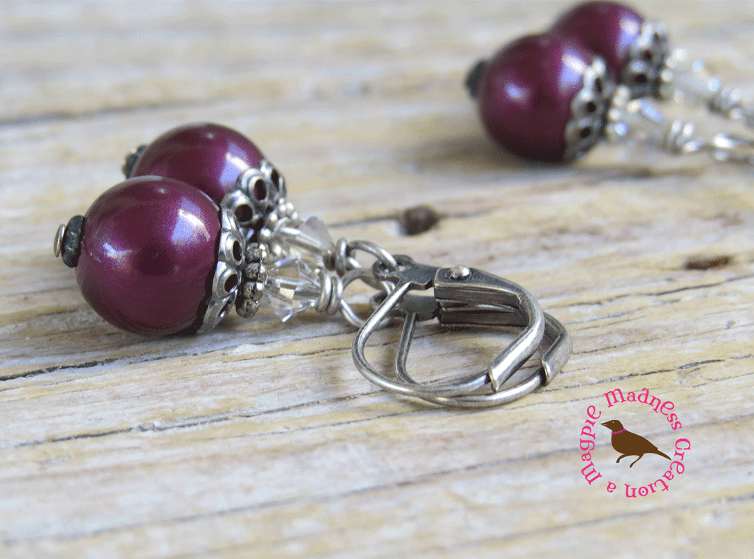 MagpieMadness: Tawny Port Pearl Earrings, Maroon, Burgundy, Antiqued ...