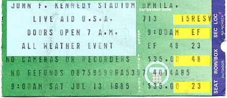 Live Aid concert ticket, July 13, 1985