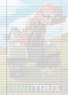 Folha Papel Pautado do Dinotrux em PDF para imprimir na folha A4