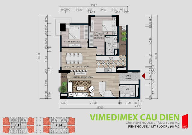 Thiết kế căn hộ Penhouse tầng 1 - 98m2