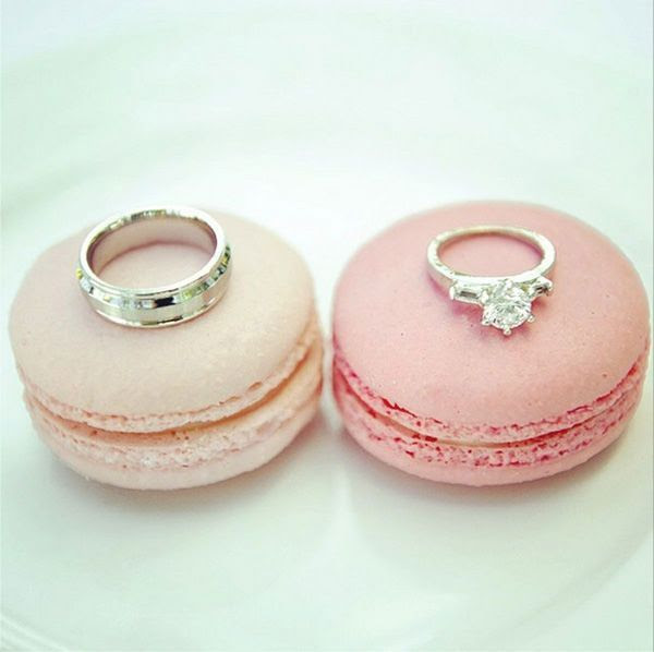 macarons and wedding rings