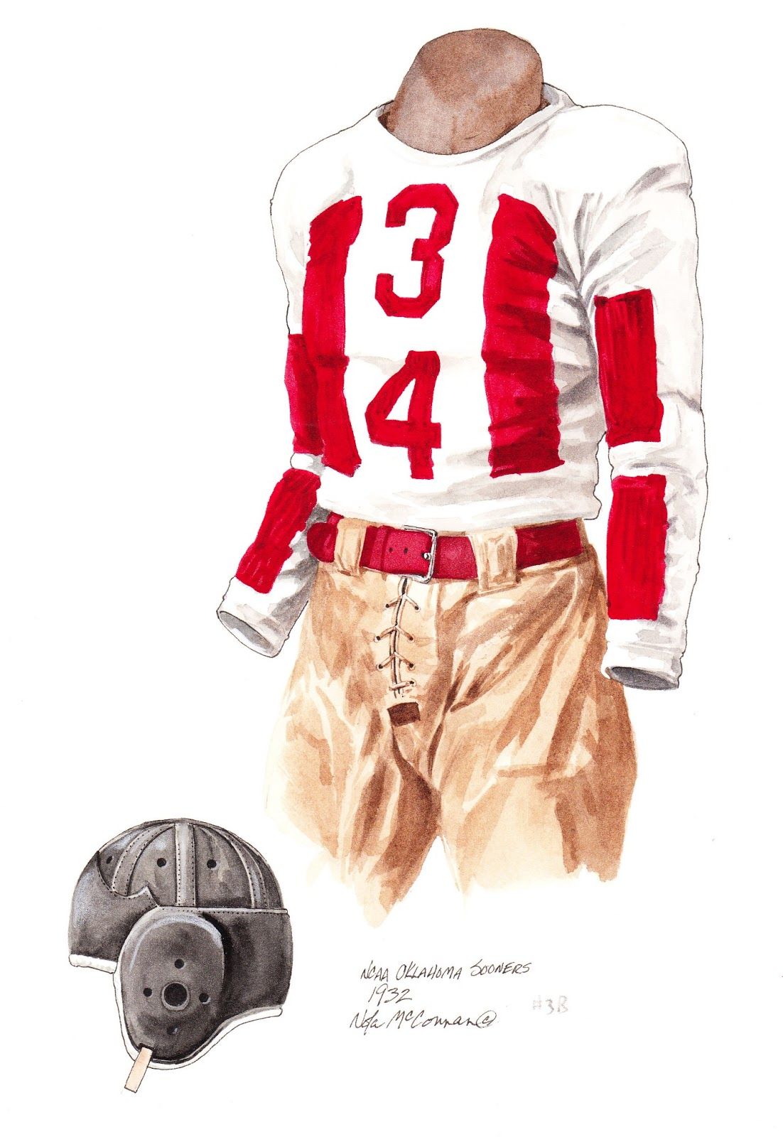 1932 University of Oklahoma Sooners football uniform original art for sale 0455cbe03