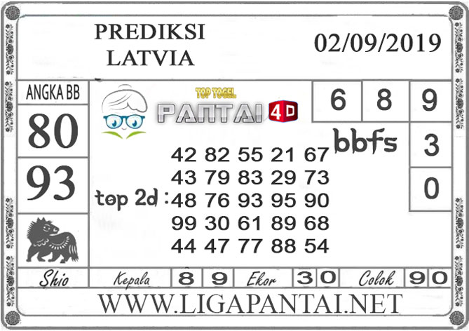 "PREDIKSI TOGEL ""LATVIA"" PANTAI4D 02 SEPTEMBER 2019"