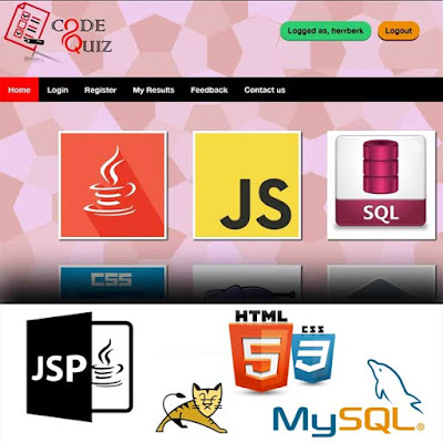 CodeQuiz Online Quiz Application - JSP, Java Servlets, CSS3, MySQL, JDBC, Apache Tomcat